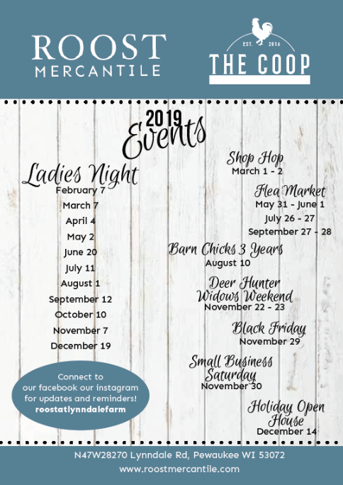 Roost Mercantile & The Coop 2019 Events